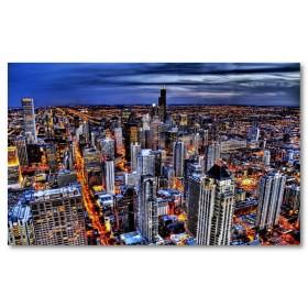 Αφίσα (Chicago, φως, κτίριο, νύχτα, πόλη, ΗΠΑ, χρώματα, σύννεφα)